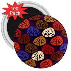 Colorful Trees Background Pattern 3  Magnets (100 Pack) by BangZart