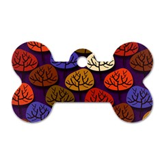Colorful Trees Background Pattern Dog Tag Bone (two Sides) by BangZart