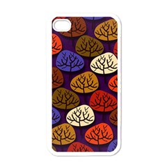 Colorful Trees Background Pattern Apple Iphone 4 Case (white) by BangZart