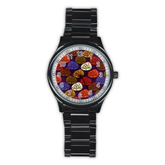 Colorful Trees Background Pattern Stainless Steel Round Watch by BangZart