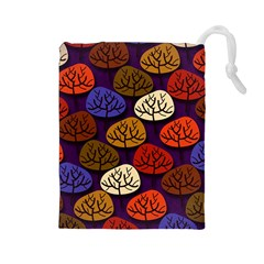 Colorful Trees Background Pattern Drawstring Pouches (large)  by BangZart