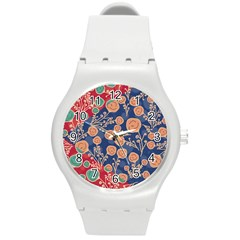 Floral Seamless Pattern Vector Texture Round Plastic Sport Watch (m) by BangZart