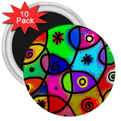 Digitally Painted Colourful Abstract Whimsical Shape Pattern 3  Magnets (10 Pack)
