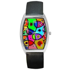 Digitally Painted Colourful Abstract Whimsical Shape Pattern Barrel Style Metal Watch by BangZart