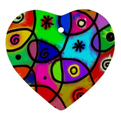 Digitally Painted Colourful Abstract Whimsical Shape Pattern Heart Ornament (two Sides) by BangZart