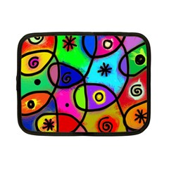 Digitally Painted Colourful Abstract Whimsical Shape Pattern Netbook Case (small)