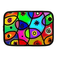 Digitally Painted Colourful Abstract Whimsical Shape Pattern Netbook Case (medium)  by BangZart