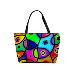 Digitally Painted Colourful Abstract Whimsical Shape Pattern Shoulder Handbags by BangZart