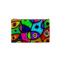Digitally Painted Colourful Abstract Whimsical Shape Pattern Cosmetic Bag (small)  by BangZart