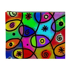 Digitally Painted Colourful Abstract Whimsical Shape Pattern Cosmetic Bag (xl) by BangZart