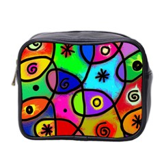 Digitally Painted Colourful Abstract Whimsical Shape Pattern Mini Toiletries Bag 2 Side