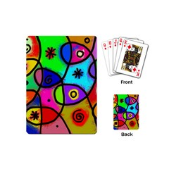 Digitally Painted Colourful Abstract Whimsical Shape Pattern Playing Cards (mini)  by BangZart