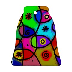 Digitally Painted Colourful Abstract Whimsical Shape Pattern Bell Ornament (two Sides) by BangZart