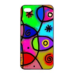 Digitally Painted Colourful Abstract Whimsical Shape Pattern Apple Iphone 4/4s Seamless Case (black) by BangZart