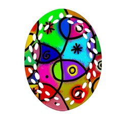 Digitally Painted Colourful Abstract Whimsical Shape Pattern Oval Filigree Ornament (two Sides) by BangZart