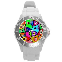 Digitally Painted Colourful Abstract Whimsical Shape Pattern Round Plastic Sport Watch (l) by BangZart
