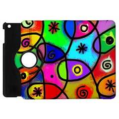 Digitally Painted Colourful Abstract Whimsical Shape Pattern Apple Ipad Mini Flip 360 Case by BangZart