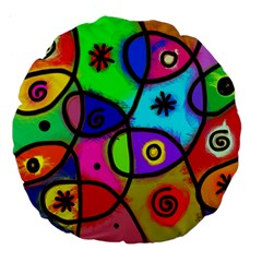 Digitally Painted Colourful Abstract Whimsical Shape Pattern Large 18  Premium Flano Round Cushions by BangZart