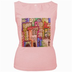 A Village Drawn In A Doodle Style Women s Pink Tank Top by BangZart