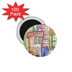 A Village Drawn In A Doodle Style 1 75  Magnets (100 Pack)  by BangZart