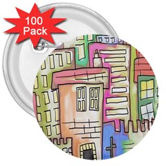 A Village Drawn In A Doodle Style 3  Buttons (100 Pack)  by BangZart