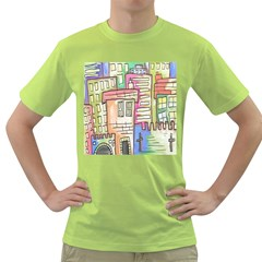 A Village Drawn In A Doodle Style Green T Shirt