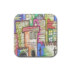 A Village Drawn In A Doodle Style Rubber Coaster (square)  by BangZart