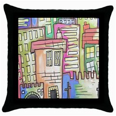 A Village Drawn In A Doodle Style Throw Pillow Case (black) by BangZart