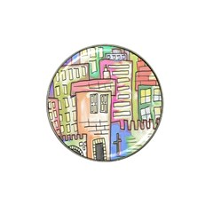 A Village Drawn In A Doodle Style Hat Clip Ball Marker by BangZart