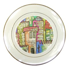 A Village Drawn In A Doodle Style Porcelain Plates by BangZart