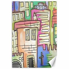 A Village Drawn In A Doodle Style Canvas 24  X 36  by BangZart