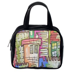 A Village Drawn In A Doodle Style Classic Handbags (one Side)