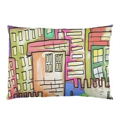 A Village Drawn In A Doodle Style Pillow Case by BangZart