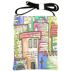A Village Drawn In A Doodle Style Shoulder Sling Bags by BangZart
