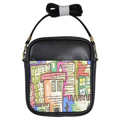 A Village Drawn In A Doodle Style Girls Sling Bags by BangZart