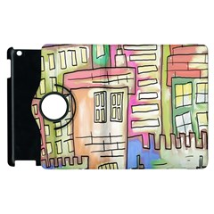 A Village Drawn In A Doodle Style Apple Ipad 2 Flip 360 Case by BangZart
