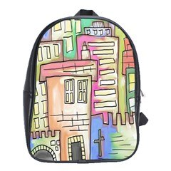 A Village Drawn In A Doodle Style School Bags (xl)  by BangZart