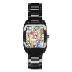 A Village Drawn In A Doodle Style Stainless Steel Barrel Watch by BangZart
