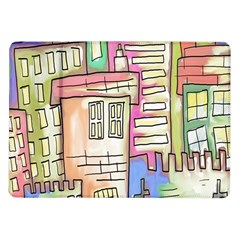 A Village Drawn In A Doodle Style Samsung Galaxy Tab 10 1  P7500 Flip Case by BangZart