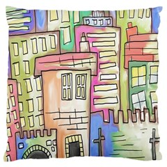 A Village Drawn In A Doodle Style Large Flano Cushion Case (one Side) by BangZart