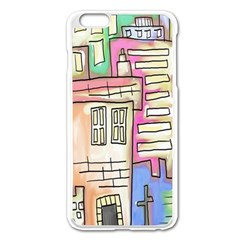 A Village Drawn In A Doodle Style Apple Iphone 6 Plus/6s Plus Enamel White Case