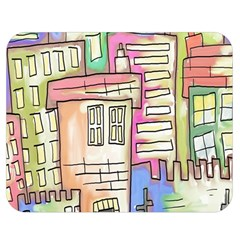 A Village Drawn In A Doodle Style Double Sided Flano Blanket (medium)  by BangZart