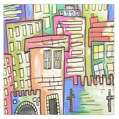 A Village Drawn In A Doodle Style Large Satin Scarf (square) by BangZart