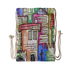 A Village Drawn In A Doodle Style Drawstring Bag (small) by BangZart