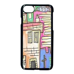 A Village Drawn In A Doodle Style Apple Iphone 7 Seamless Case (black) by BangZart