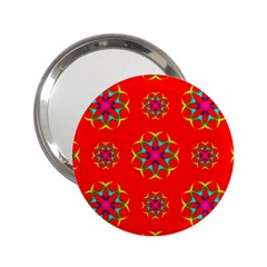 Rainbow Colors Geometric Circles Seamless Pattern On Red Background 2 25  Handbag Mirrors by BangZart