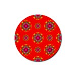 Rainbow Colors Geometric Circles Seamless Pattern On Red Background Rubber Round Coaster (4 pack)  Front