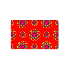Rainbow Colors Geometric Circles Seamless Pattern On Red Background Magnet (name Card) by BangZart