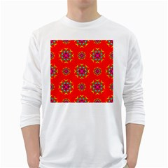 Rainbow Colors Geometric Circles Seamless Pattern On Red Background White Long Sleeve T Shirts by BangZart