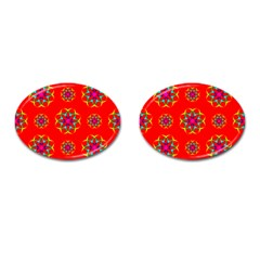 Rainbow Colors Geometric Circles Seamless Pattern On Red Background Cufflinks (oval) by BangZart
